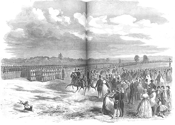 Simon Cameron reviewing McDowell's troops