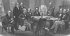 The President and his Cabinet, with Lt. Gen. Scott