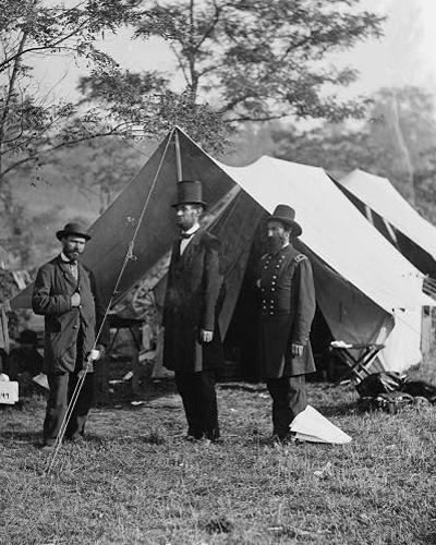 Allan Pinkerton, President Lincoln, and Maj. Gen. John A. McClernand at Antietam, Md.
