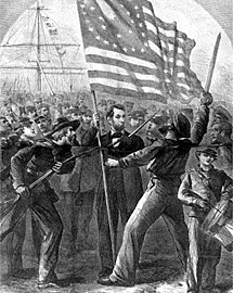 Abraham Lincoln and Soldiers 'Rally Round the Flag'