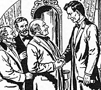 Lincoln receives the Nomination and the Party Leaders at Home