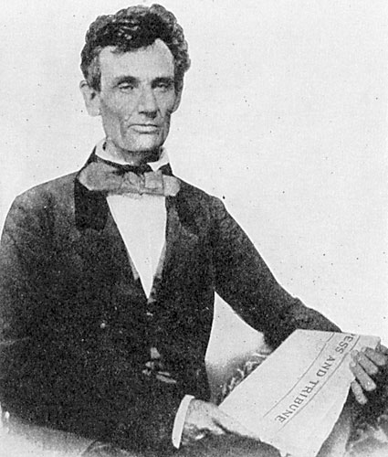 """Lincoln holding the """"Press and Tribune"""""""