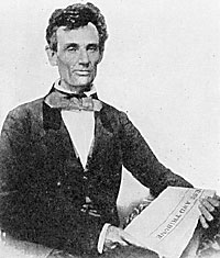 "Lincoln holding the ""Press and Tribune"""