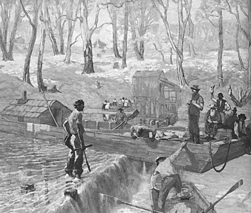 Abraham Lincoln navigating a barge down the Mississippi